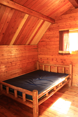 double bed inside cabin